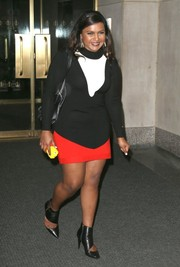 Mindy Kaling visited the 'Today' show wearing a black-and-white turtleneck.