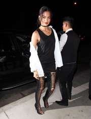 Shanina Shaik went for an ultra-sexy finish with a pair of thigh-high lace-up boots.