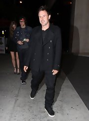 David Arquette chose a solid black pea coat for his going-out look while out in LA.
