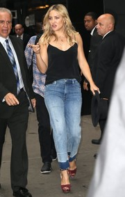 Kate Hudson teamed a sexy black L'Agence cami with a delicate gold necklace from Established and edgy boyfriend jeans for a visit to 'Good Morning America.'