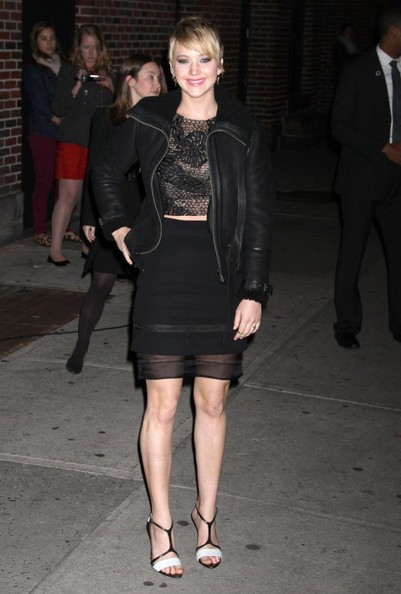 More Pics of Jennifer Lawrence Leather Jacket (5 of 32) - Jennifer Lawrence Lookbook - StyleBistro