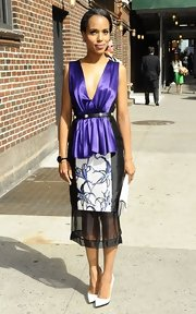 For her appearance on 'The Late Show with David Letterman,' Kerry Washington donned this lovely amethyst and black dress.
