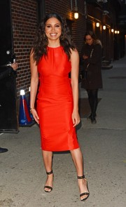 Jurnee Smollett-Bell donned a simple yet sophisticated sleeveless red dress for her appearance on the 'Late Show with Stephen Colbert.'