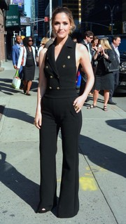 Rose Byrne donned a cool and sexy tux-inspired jumpsuit by Max Mara for her 'Late Show with Stephen Colbert' appearance.