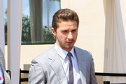 Shia LaBeouf Wears a Narrow Striped Tie