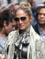 Jennifer Lopez sported a casual-chic bun as she left 'The View.'