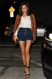 Olivia Culpo put her legs on display in a pair of Rag & Bone high-waisted denim shorts as she headed to Craig's Restaurant.