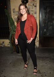 Ashley Graham teamed her jacket with tight black jeans.
