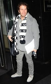 Perez Hilton was in the mood for gray during a night out in New York City.