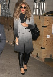 Leona Lewis looked all set for cold weather in an ombre tweed coat when she visited 'Live with Kelly & Michael.'