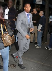 Nick Cannon got all snazzied up for the 'Today Show' when he sported this gray suit with a gingham tie and pink button down.