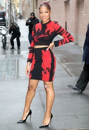 Keke Palmer rocked a body-con red and black crop-top by Philipp Plein during her appearance on 'The View.'