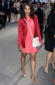 Kerry Washington rocked a slim salmon pink leather frock while out in NYC.