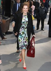 Darby Stanchfield looked lovely in a bold floral frock, which she wore to 'Good Morning America.'