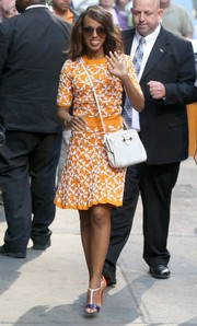 Kerry Washington completed her multi-hued ensemble with a pair of color-block T-strap sandals by Christian Louboutin.