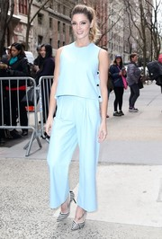 Ashley Greene went matchy-matchy, teaming her top with sky-blue wide-leg pants by Novis.