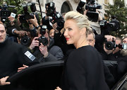 Cameron Diaz wore her short blond tresses in a casual updo at the Christian Dior fashion show in Paris.