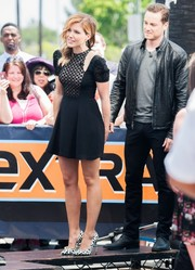 Sophia Bush visited 'Extra' looking foxy in a lace-panel cutout LBD by Jill Stuart.
