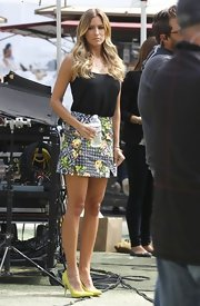 Renee Bargh chose a black tank to pair with a brightly patterned skirt.