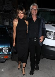 Lisa Rinna styled her LBD with on-trend PVC cap-toe pumps.