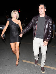 Chelsea Kane was spotted out in Hollywood in a ruffled black one shoulder frock.