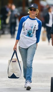 Chloe Sevigny chose a white and blue Sonic Youth baseball tee for her casual look while out in NYC.