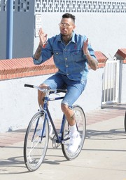 It was an all-denim day for rapper Chris Brown.