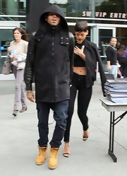 Chris Brown kept warm in a pair of heavy duty lace-up boots as he attended a Lakers game with his current squeeze.
