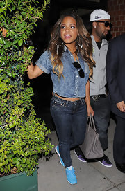 Christina Milian's beaded hoops were a fun little addition to her casual-cool style.