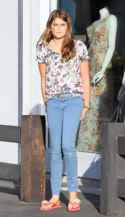 Kaya Gerber looked charming in a cute floral peasant top.