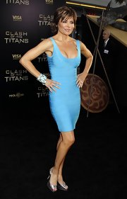 The silver and turquoise cuff and bangle Lisa Rinna wore to the 'Clash of the Titans' premiere looked outstanding against her bronzed skin and paired with her vibrant dress.