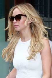 Jennifer Lawrence hid her peepers behind a pair of Tom Ford cateye sunnies while out and about in New York City.