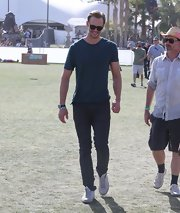 Alexander Skarsgard stuck to a basic tee while at Coachella.