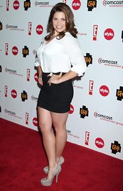 Danielle Fishel showed off her shapely legs in a black micro mini at the Summer TCA cocktail party.