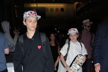 Cruz Beckham Romeo Beckham David Beckham Spotted At LAX