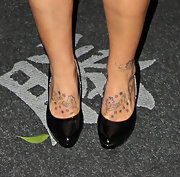 Deena Nicole Cortese showed off the colored tattoos on her feet while leaving Katsuya in Hollywood.