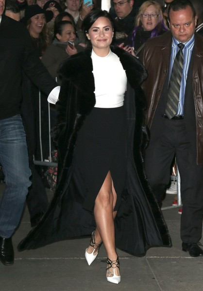 Demi Lovato Fur Coat
