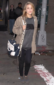 Dianna Agron was spotted in NYC carrying a two-tone navy and white leather Olimpia bag.