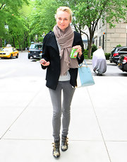 Diane Kruger stepped into a pair of strappy black ankle boots featuring gold embellishments for a stroll around NYC.