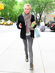 Diane Kruger toted this pastel leather bag with her stylish street ensemble.