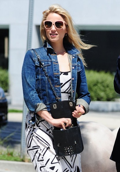 Dianna Agron accessorized with a studded black shoulder bag during a day out in West Hollywood.