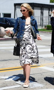 Dianna Agron looked cool in a black-and-white geometric-print dress teamed with a denim jacket while out in West Hollywood.