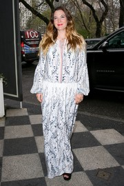 Drew Barrymore stepped out in New York City all covered up in a loose paisley-print maxi dress.
