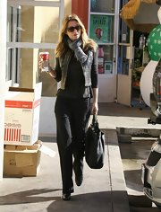 Ellen Pompeo was spotted in a quilted leather vest on her daily coffee run.