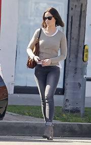 Emily kept her look casual and cool with a pair of skinny jeans.