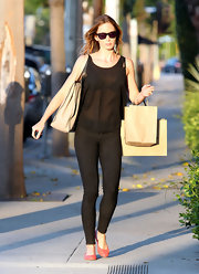 Emily Blunt stayed stylish while shopping in LA, matching her black-on-black attire with onyx tortoise shell Sama Eyewear sunglasses.