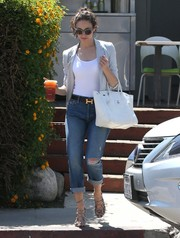 Emmy Rossum was street-chic in ripped jeans by Mother, a gray blazer, and a tight-fitting top while out and about in Studio City.