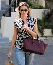 Emmy Rossum stepped out in LA wearing stylish aviator shades.