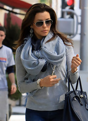 Eva Longoria wore this sky blue ombre scarf with her casual ensemble while out for coffee.