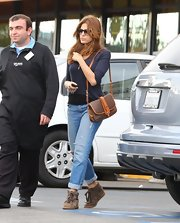Eva Mendes kept it casual in a pair of soft suede ankle boots.